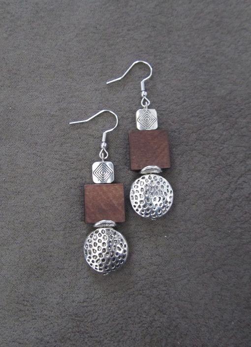 Wooden earrings, silver animal print earrings, Afrocentric earrings, mid century modern earrings, African earrings, bold statement, unique by Afrocasian