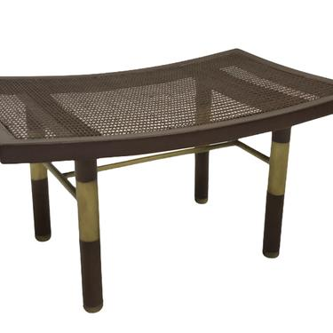 Asian Modern Michael Taylor Cane and Brass Bench\/ Stool for the Far East Collection Baker