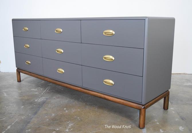 Mid Century Modern Gray and Dark Walnut Dresser