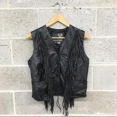 Vintage Leather Vest 1990s Retro Size Medium + USA Bikers Dream Apparel + Black + Fringed + Motorcycle + Snap Front + Womens Apparel by RetrospectVintage215