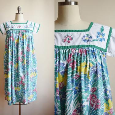 Vintage Floral Cotton Market Dress | M/L | 1970s / 1980s Bright Floral Print Tent Dress | Casual Dress | Nap Dress by wemcgee