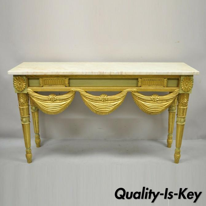 Italian Regency Neoclassical Green Gold Marble French Louis XVI Console Table