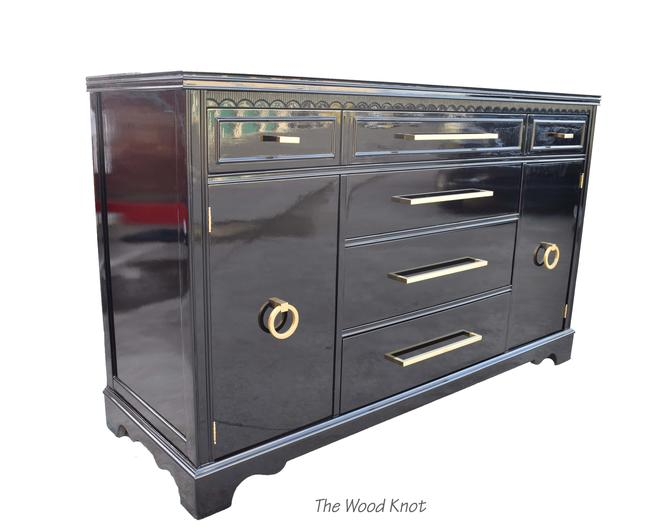 High Gloss Black and Gold Sideboard