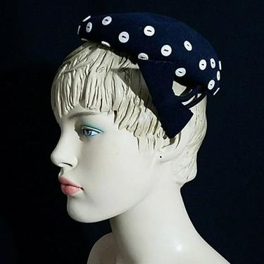 Vintage 40s I. Magnin & Co. Button Accented Ladies Hat Small by GraveyardVintage