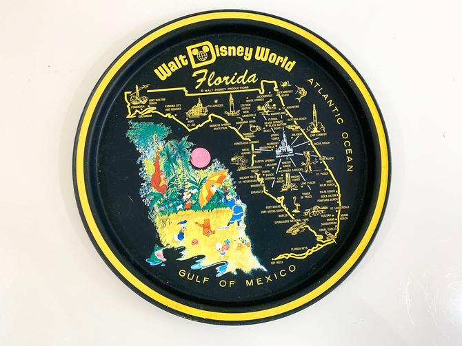 Vintage Metal Florida Drink Tray Plate Souvenir Retro Round Walt Disney World Mid-Century Barware Mickey Mouse Donald Duck Goofy by CheckEngineVintage