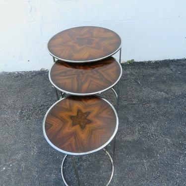Mid Century Round Rosewood Top and Chrome Set of Three Nesting Tables 2464