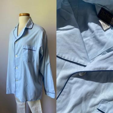 70s Blue Tonal Sleep Shirt by DiscoLaundryVintage