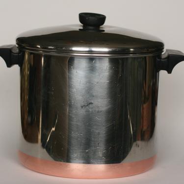 vintage revere ware 8 quart stock pot copper clad bottom 1992 made in clinton illinois by suesuegonzalas