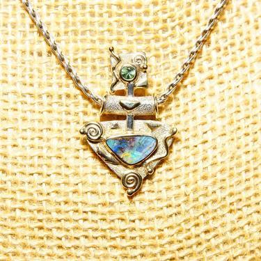 "Vintage Modernist 14K White & Yellow Gold Art Glass Gemstone Pendant Necklace, Spiral Zig-Zag Details, 2mm Rope Chain, 19 1/8"" L by shopGoodsVintage"