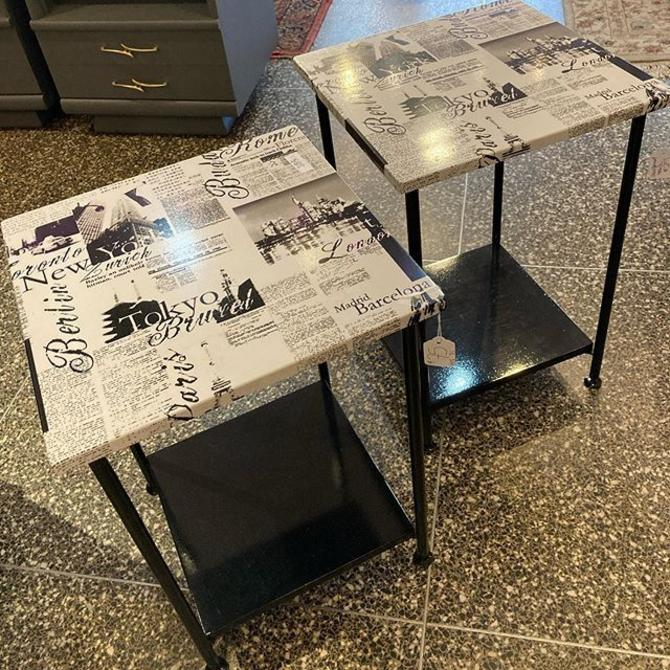 "Newsprint laminate tables, 14.5"" square, 21.25"" high."