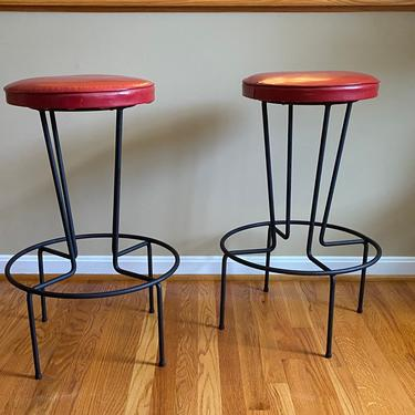 Mid-Century Frederick Weinberg Wrought Iron Bar Stools, a Pair, Counter Height by MSGEngineering
