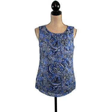 Back Button Blouse, Sleeveless Blue Bandana Print Shirt Summer Top Small, Casual Clothes Women, Y2K Vintage Clothing from Talbots Size 6 by MagpieandOtis