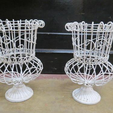 Vintage MCM pair of white metal wire planters