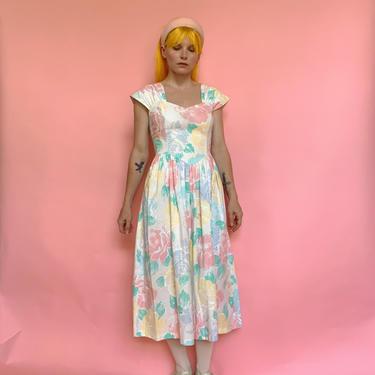80s Floral Cotton Fit & Flare Dress by TheMetalRomanticShop