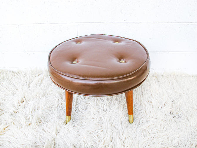 Mid-Century Modern Round Stool with Wood and Brass Legs by PortlandRevibe