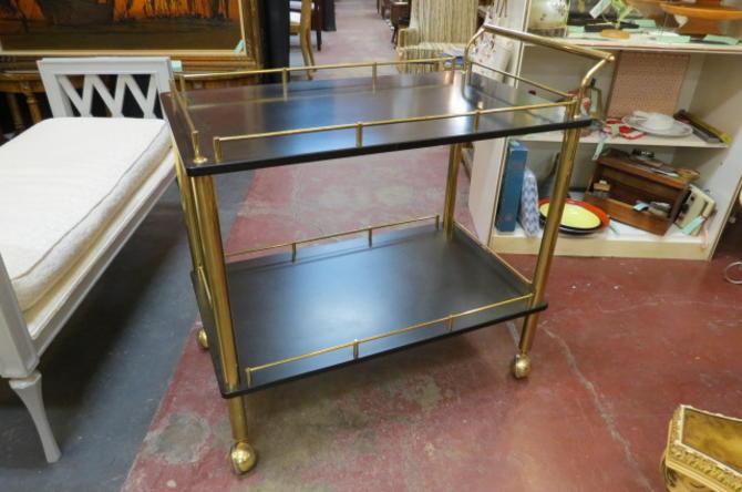 Vintage MCM brass and black laminate bar cart