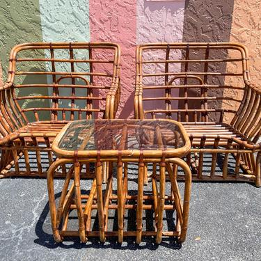 Pair of Rattan Lounge Chairs and End Table