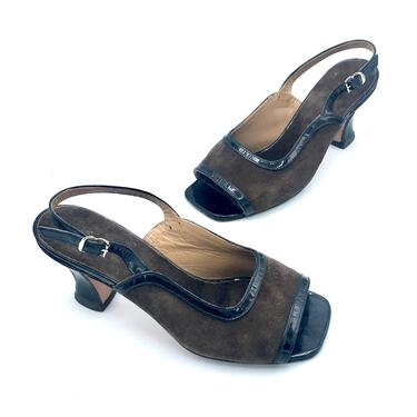 Vintage 1980s Two Tone Shoes, Brown Suede Black Patent Leather Sandals, Open Toe Slingback Spool Heels, US Size 4 - 4 1/2 by RanchQueenVintage