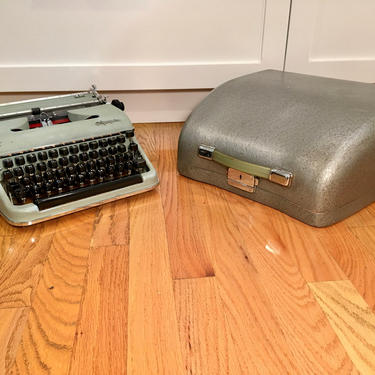 Mint Green 1958 Olympia SM3 DeLuxe Portable Typewriter w Case, New Ribbon, Owner's Manual by Deco2Go