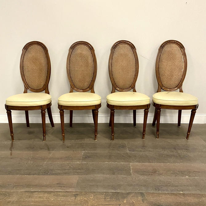 CUSTOMIZABLE: Set of 4 - Cane Back Dining Chairs by VintageRefinedDecor