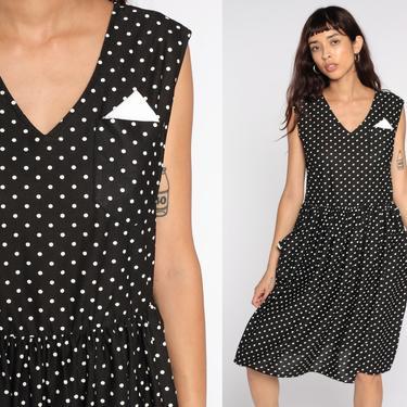 Black Polka Dot Dress 80s Midi White Pocket Button Back Dress Full Skirt Sleeveless V Neck Vintage 1980s Retro Preppy Medium to large by ShopExile