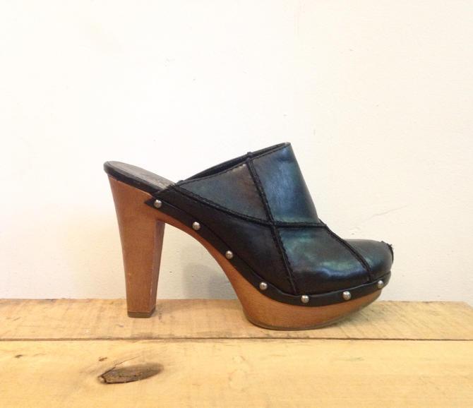 3ff33b9c791 Vintage Patchwork Leather Clogs  Candies  Platform Clogs  size 9.5 ...