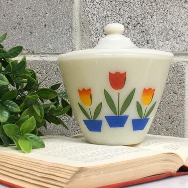 Vintage Fire King Grease Jar Retro 1950s Mid Century Modern + Tulip Print + Size 5.5 Diameter + White Ceramic + Covered Dish + Kitchen Decor by RetrospectVintage215