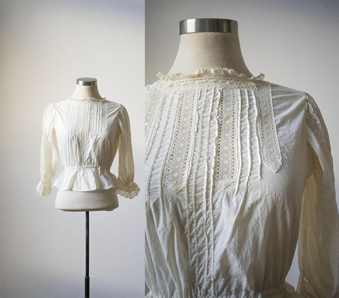 White Cotton Edwardian Blouse / Lace Blouse / Antique White Cotton Blouse / Antique Lace Blouse / Button Up Edwardian Blouse by milkandice
