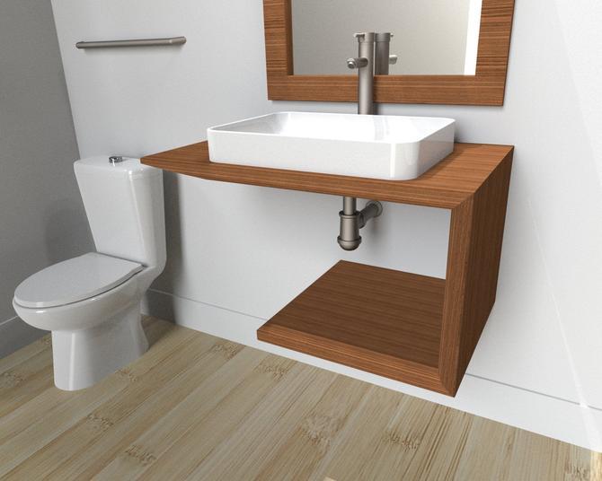 Floating Bathroom Vanity all Wood / Industrial restroom / Modern Vanity / Rustic Furniture / contemporary by TheRusticForest