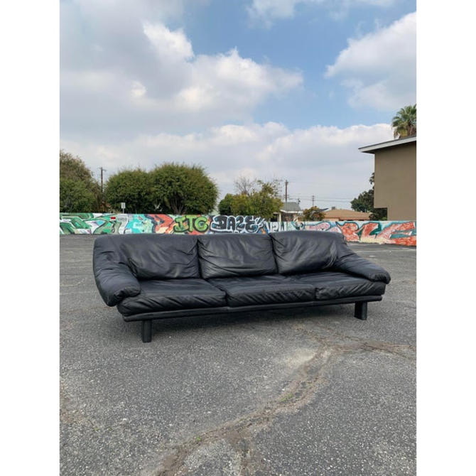 1990s Vintage Black Leather Sofa by VintageOnPoint