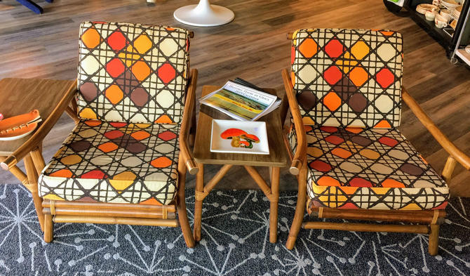 Pair of mid century bamboo and brass chairs - Pickup and delivery to selected cities by UrbanInteriorsBalt