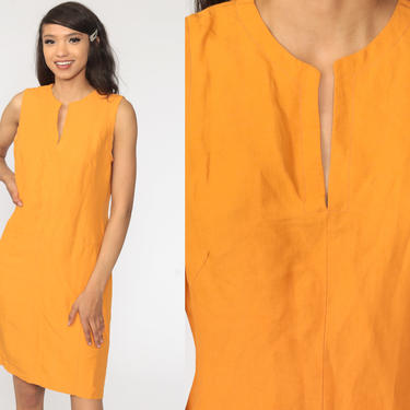 Orange Mini Dress Sheath Dress 90s Linen Rayon Sleeveless Vintage 1990s Simple Plain Shift Hourglass Minimalist Normcore Medium by ShopExile