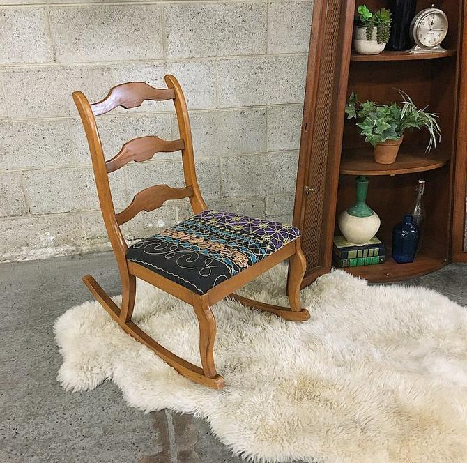 LOCAL PICKUP ONLY Vintage Rocking Chair Retro 1960s Statesville Chair Company Brown Maple Wood Rocking Chair With Bohemian Floral Print by RetrospectVintage215
