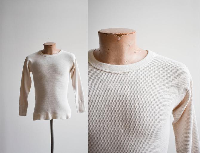 Vintage Cream Heavyweight Longsleeve Thermal Shirt by milkandice