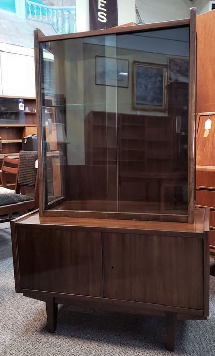 Item #MB6 Russian Mid Century Modern Glass Top Hutch c.1950
