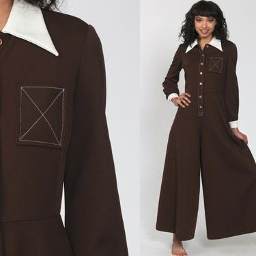 70s Palazzo Jumpsuit Brown Bell Bottom Pants Wide Leg Boho 1970s Button Up Disco Hippie Bohemian One Piece Vintage Pantsuit Extra Small xs s by ShopExile