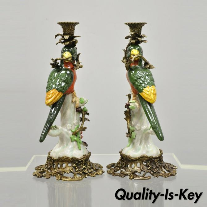 Pair Porcelain & Bronze French Green & Yellow Parrot Candlestick Candle Holders
