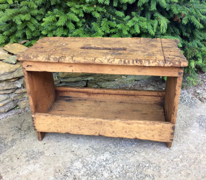 Vintage Primitive Wood Carpenters Tool Box Work Bench By Lazycamel