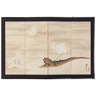 Japanese Four-Panel Screen of White Egret with Waves by ErinLaneEstate