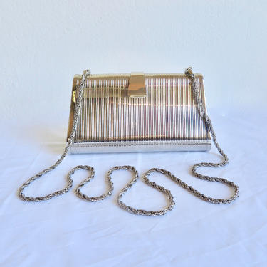 Vintage 1980's Silver Metal Hard Case Purse Clutch Convertible Shoulder Chain Disco Cocktail Party Italian Saks Fifth Avenue Made in Italy by seekcollect