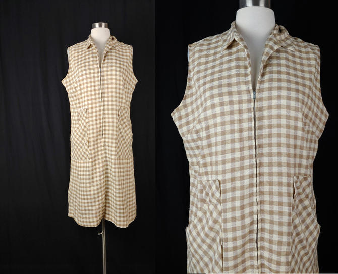 Vintage Sixties Brown Gingham Metal Zip Front House Dress - 60s Sleeveless Shift Dress - Large Brown Plaid House Dress by JanetandJaneVintage