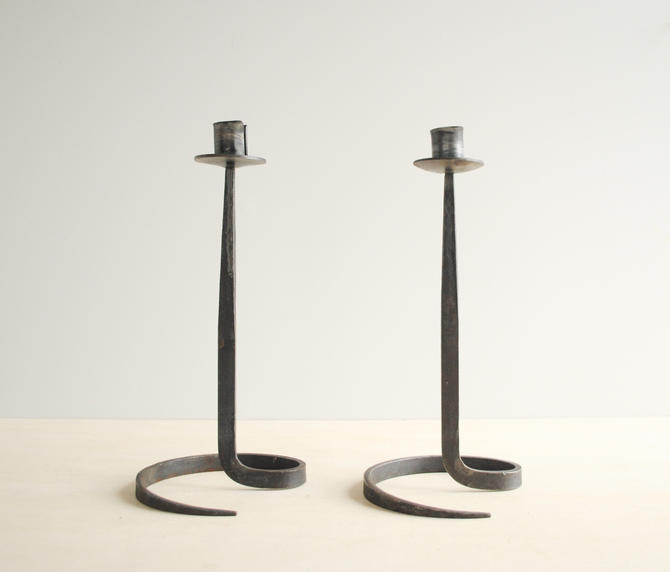 Vintage Wrought Iron Candle Holder Pair by Artist Lance Cloutier, Brutalist Candlesticks by LittleDogVintage