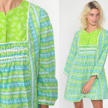 Floral Bird Dress Print Hippie Boho Dress Mini 70s Mod Green Blue Long sleeve Shift 60s Twiggy Festival Vintage Bohemian Bib Medium by ShopExile