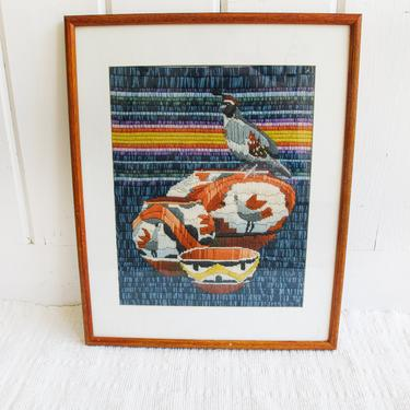 Vintage Desert Native Basket and Quail Woven Needle Point / Embroidery Wall Tapestry with Wood and Glass Frame by PortlandRevibe