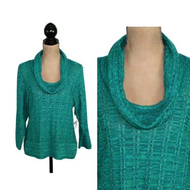 Teal Sweater Small, Cowl Neck Space Dye Pullover, Pointelle Acrylic Knit Tunic, 90s Y2K Clothes Women, Vintage Clothing from Kim Rogers by MagpieandOtis