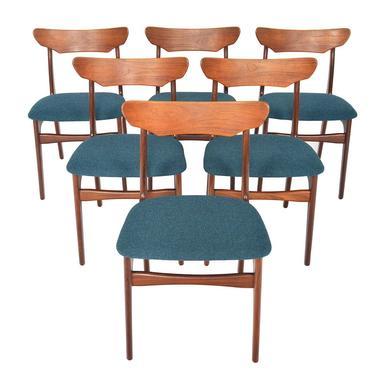 Set of Six Danish Mid Century Modern Schionning + Elgaard Teak Dining Chairs by MidCenturyMobler