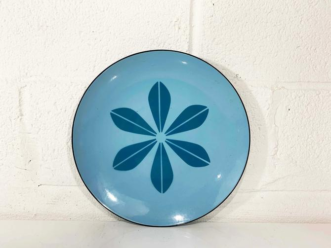 """True Vintage Cathrineholm Enamel 12"""" Plate Large Tray Aqua Blue Lotus Leaf Norway Catherineholm Norwegian Scandinavian Leaf Mid-Century MCM by CheckEngineVintage"""