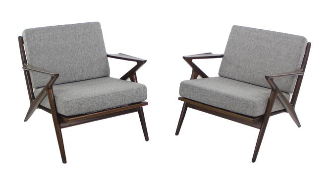 "Pair of Scandinavian Modern ""Z"" Armchairs Designed by Poul Jensen"