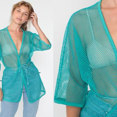 Sheer Mesh Top Beach Cover Up Top Swim Festival Top Wrap Jacket 80s Hippie Shirt Turquoise Blue Summer 1980s Bohemian  Small Medium Large by ShopExile
