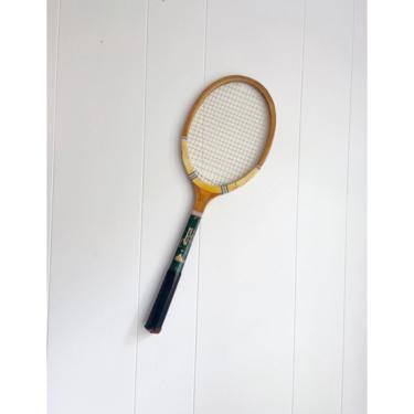 "Vintage J.B. Higgins Sporting Goods ""Mohawk"" Tennis Racket with Black Handle, Wall Decor Sports Bar Game Room by BlackcurrantPreserve"